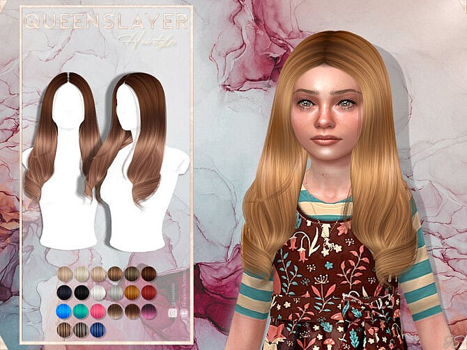 Sims 4 Queens Layer Child Hairstyle by JavaSims at TSR
