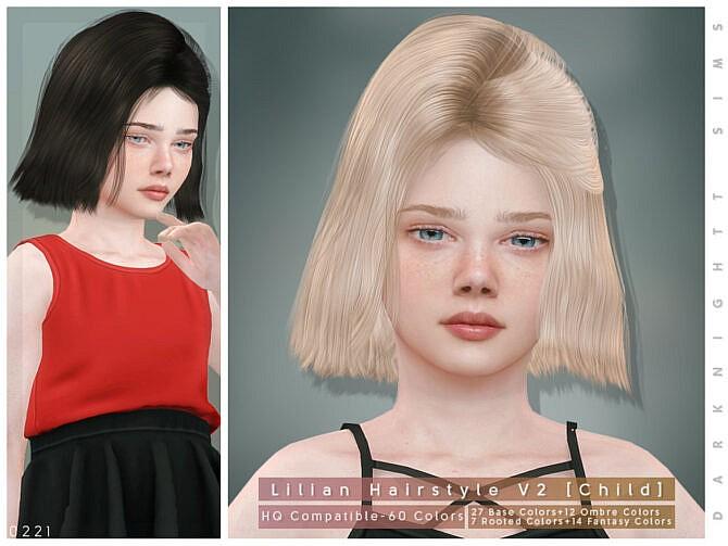 Sims 4 Lilian Hairstyle V2 Child by DarkNighTt at TSR