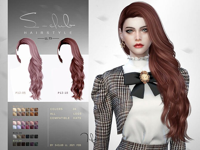 Sims 4 Long curly hair N73 Tifa by S Club at TSR