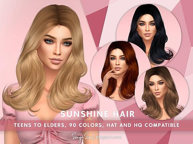 Sims 4 Sunshine Hair by SonyaSimsCC at TSR