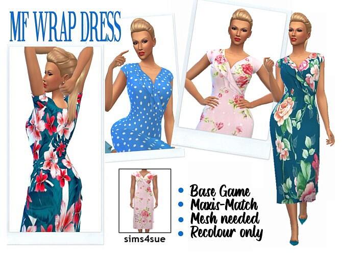Sims 4 MF'S WRAP DRESS at Sims4Sue