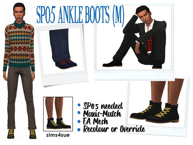 Sims 4 SP05 ANKLE BOOTS (M) at Sims4Sue
