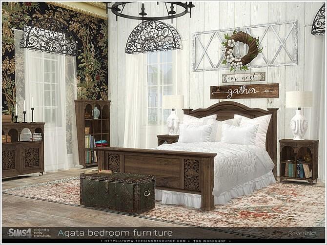 Sims 4 Agata bedroom furniture by Severinka at TSR