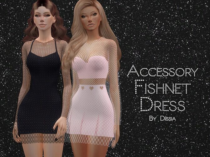 Sims 4 Accessory Fishnet Dress by Dissia at TSR