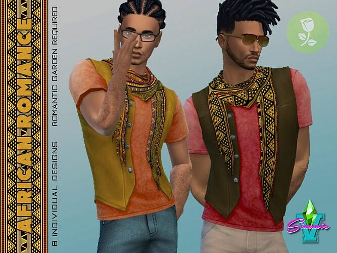 African Sims 4 Vest T Shirt Scarf