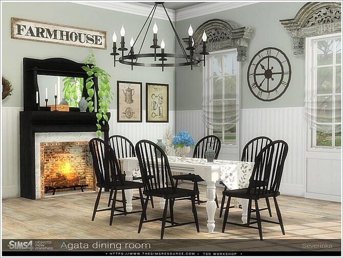 Sims 4 Agata dining room by Severinka at TSR