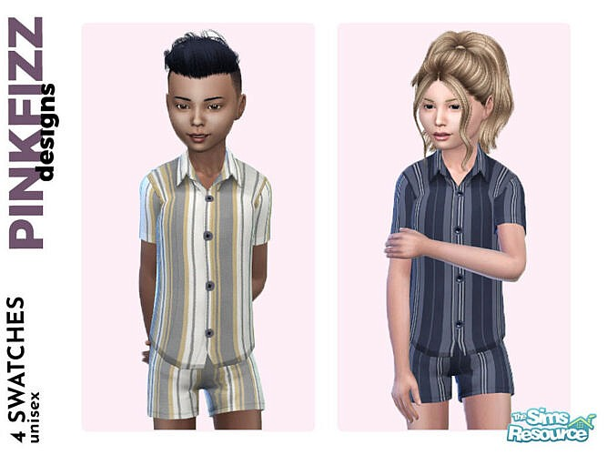Alex Sims 4 Short Stripy Pjs