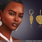 Baroque Heart Drop Sims 4 Earrings