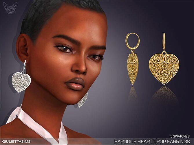 Sims 4 Baroque Heart Drop Earrings by feyona at TSR