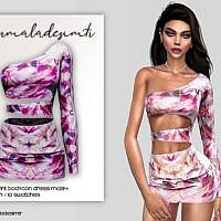 Bodycon Sims 4 Dress Marble Print Mc134
