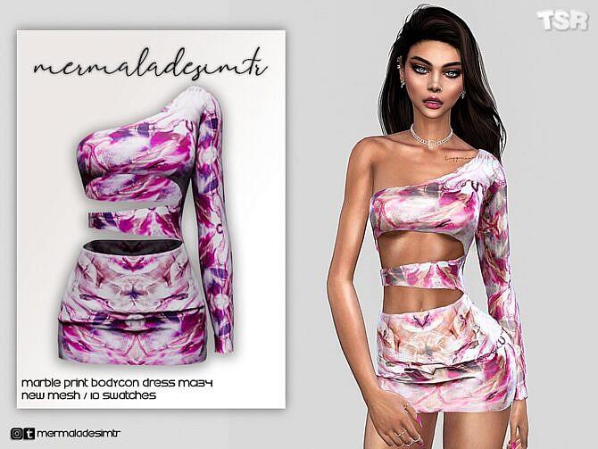 Sims 4 Marble Print Bodycon Dress MC134 by mermaladesimtr at TSR
