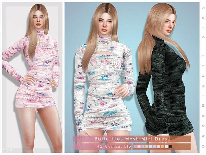 Sims 4 Butterflies Mesh Mini Dress by DarkNighTt at TSR