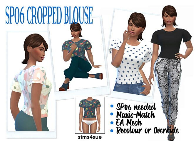 Cropped Sims 4 Blouse Sp06