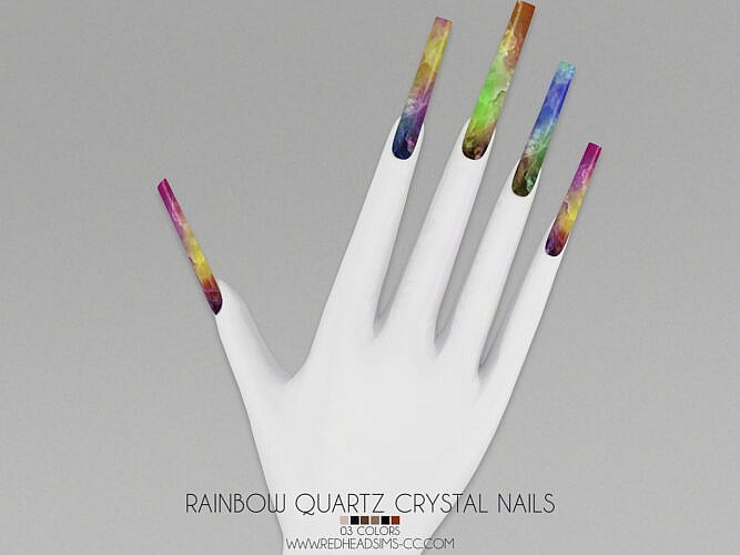 Crystal Sims 4 Nails Rainbow Quartz 1