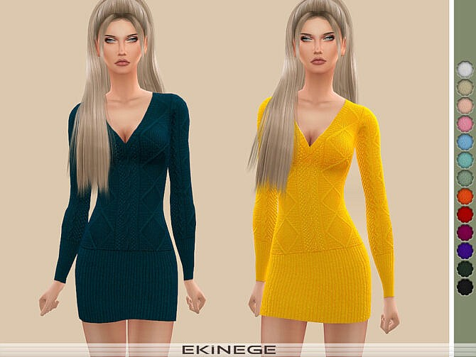Sims 4 Cable Knit Dress by ekinege at TSR
