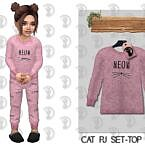 Cat Pajama Sims 4 Top C313