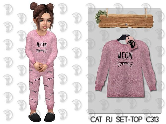 Sims 4 Cat Pajama Top C313 by turksimmer at TSR