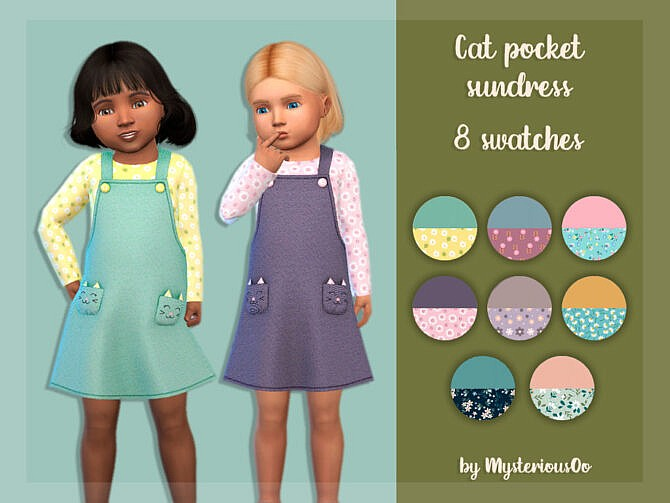 Sims 4 Cat pocket sundress by MysteriousOo at TSR