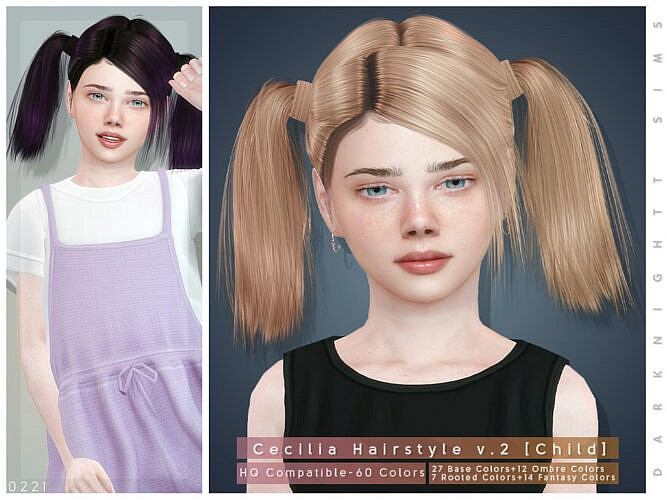 Cecilia Sims 4 Hairstyle V2 Child