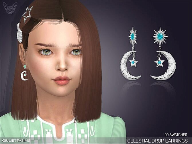 Sims 4 Celestial Drop Earrings For Kids by feyona at TSR