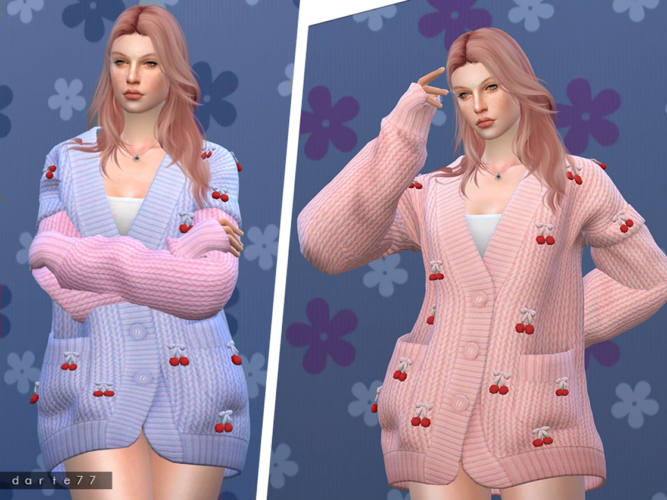 Cherry Knit Sweater Af Sims 4