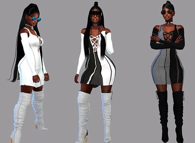 Sims 4 Color Blocker Dress at Teenageeaglerunner