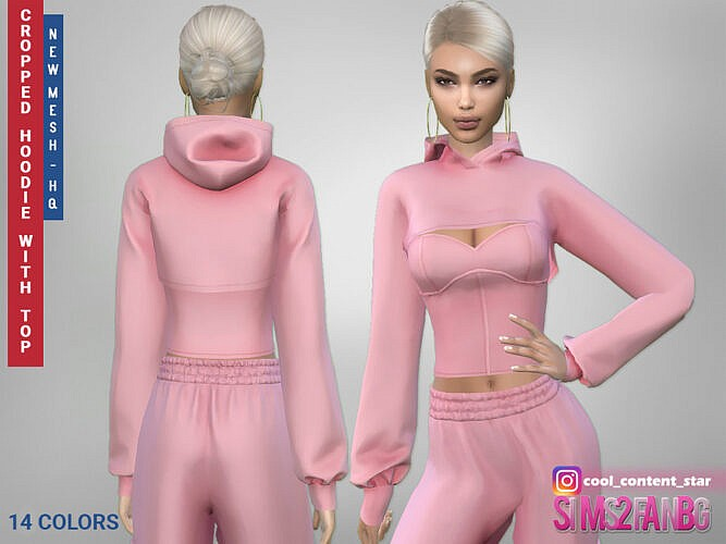 Cropped Sims 4 Hoodie With A Top 414