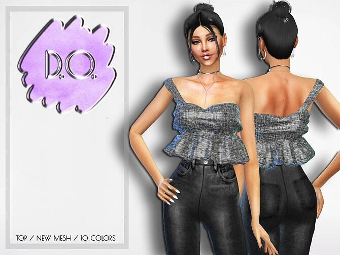 Sims 4 One shoulder cropped peplum top by D.O.Lilac at TSR