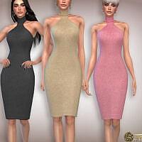 Cut Out Wool Knit Midi Sims 4 Dress