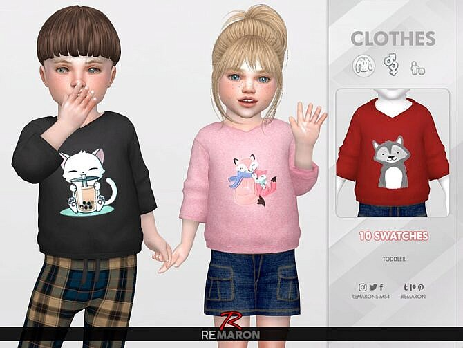 Sims 4 Cute Hoodie for Toddler 01 by remaron at TSR