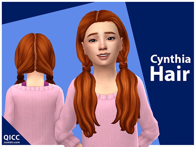 Sims 4 Cynthia Hair for child female by qicc at TSR