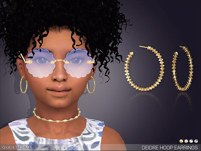 Sims 4 Deidre Hoop Earrings For Kids by feyona at TSR