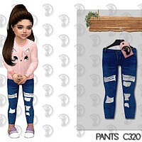 Distressed Skinny Sims 4 Jeans For Toddlers