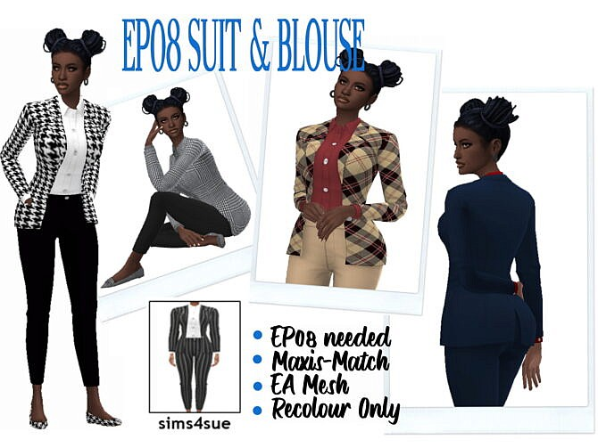 Sims 4 Maxis Match Suit & Blouse EP08 at Sims4Sue