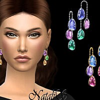 Earrings Sims 4 Mixed Color Gems
