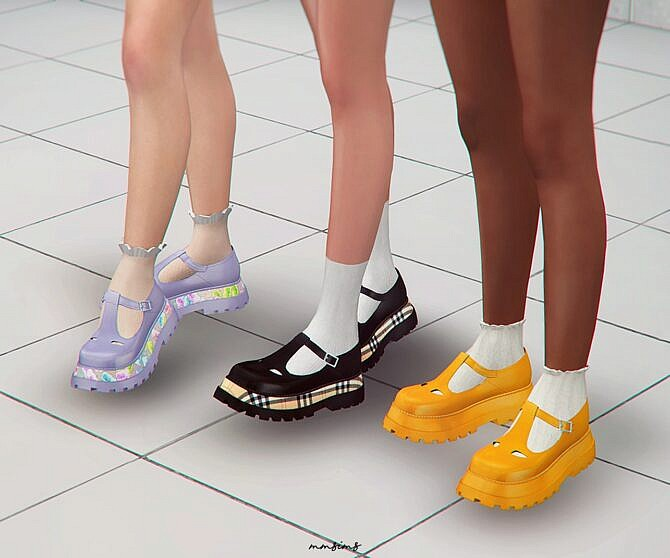 Sims 4 Embossed T bar Shoes at MMSIMS