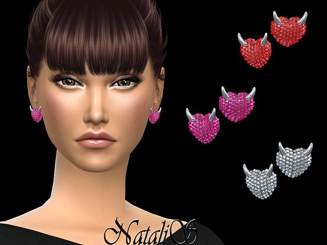 Evil Heart Stud Sims 4 Earrings By Natalis