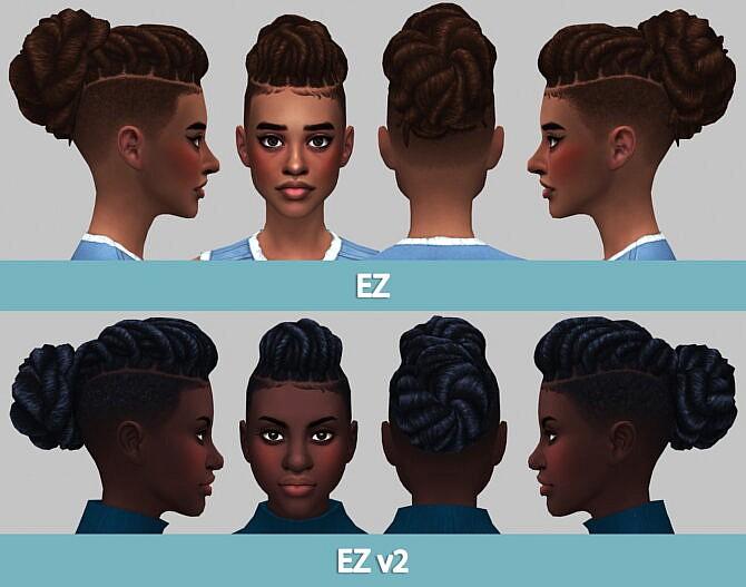 Sims 4 Ez hairs v1 and v2 at Saurus Sims