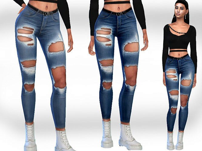 Female Ripped Sims 4 Jeans