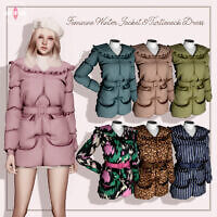 Feminine Sims 4 Jacket Turtleneck Dress