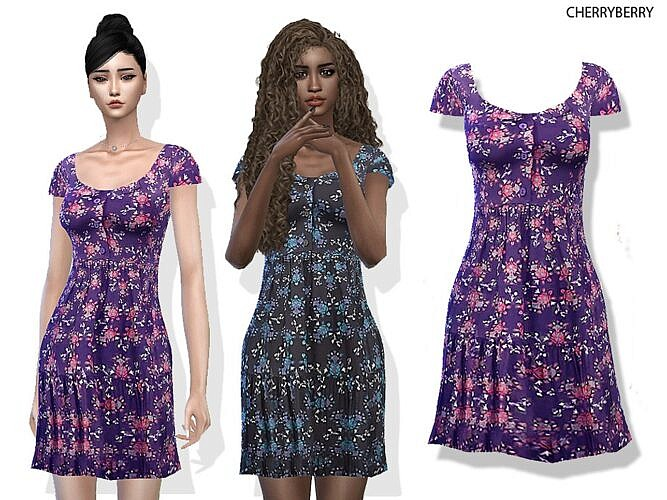 Floral Day Sims 4 Dress