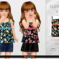 Floral Sims 4 Top For Girls 01