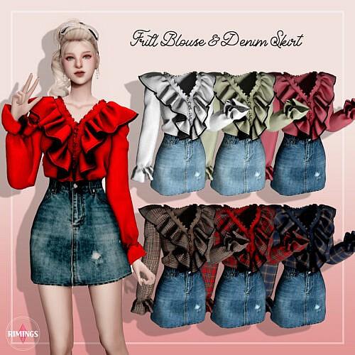 Frill Blouse Sims 4 Denim Skirt