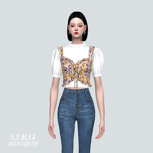 Frill Bustier Sims 4 Blouse Lu