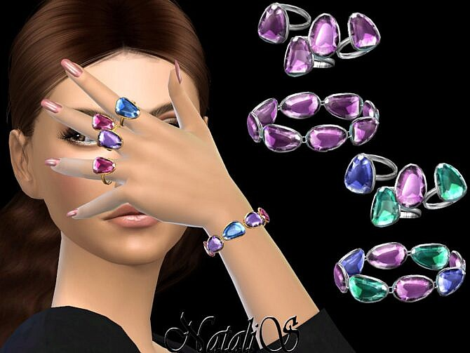 Sims 4 Mixed color gems bracelet + rings set by NataliS at TSR