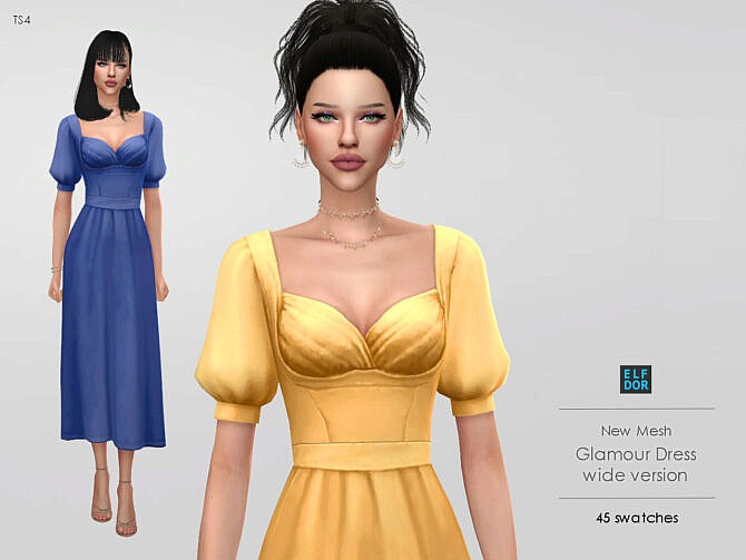 Sims 4 Glamour Dress Wide at Elfdor Sims