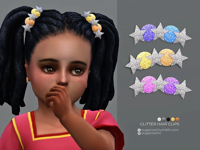 Glitter Sims 4 Hair Clips Toddlers