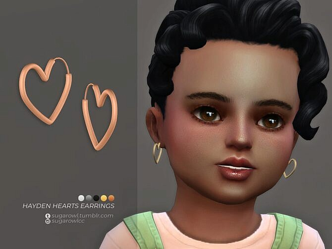 Sims 4 Hayden Hearts earrings Toddlers by sugar owl at TSR
