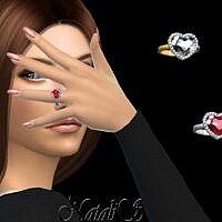 Heart Shape Halo Sims 4 Ring