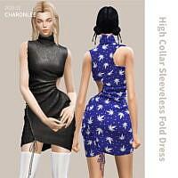 High Collar Sleeveless Dress